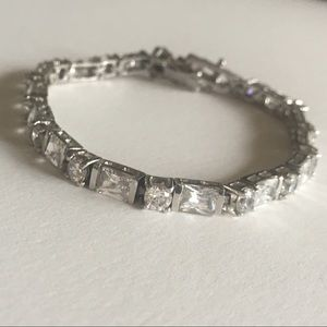 Tennis Bracelet Sterling Silver 925 Radiant Cut CZ